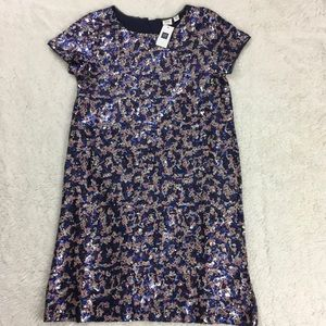 Gap girls multi colored sequined party shift dress
